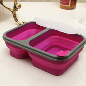 2 Well Collapsible Bowl - Silicone Portable Dog Cat Pet Bowl 900ml Folding Container