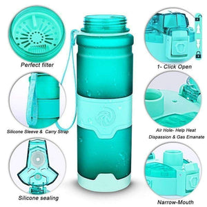 ZORRI -  400 to 1000ml - Sports Water Bottle BPA-Free Plastic Pop-top w Cleaning Brush*