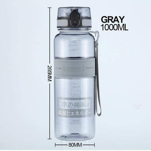 UZSPACE Popular Gray Water Bottle Men Outdoor Sport Travel My Drink Bottle Portable Leakproof Plastic Bottle BPA Free 5 Capacity