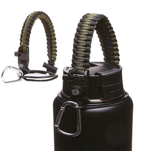 Paracord Handle for Wide Mouth Water Bottle w Carabiner Compass - 12 oz to 64 oz