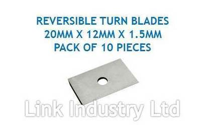 10 pces. 20 x 12 x 1.5mm CARBIDE REVERSIBLE TURN BLADES REVERSIBLE TIP KNIVES