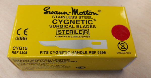 Cygnetic CYG15 No.15 scalpel blades, sterile stainless steel, in single peel packs - box of 50