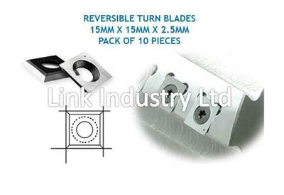 10 pces. 15 x 15 x 2.5mm CARBIDE REVERSIBLE TURN BLADES, 4 X EDGES, SQUARE FACES