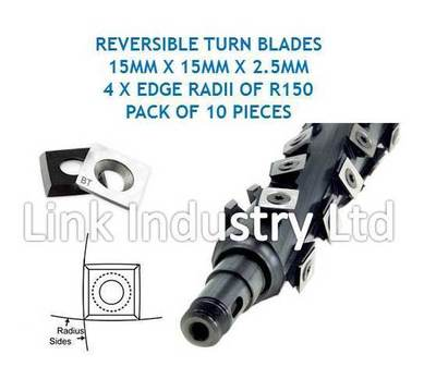 10 pces. 15 x 15 x 2.5mm, 4 x R150 EDGE RADII, SQUARE CORNERED, CARBIDE REVERSIBLE TURN BLADES