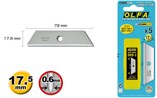 5 pieces of OLFA SKB-2/5B blades for the Olfa SK-3, SK-4, SK-5, SK-9 & UTC-1 handles