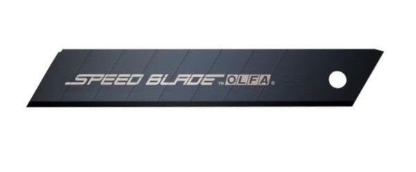5 pieces of Olfa LFB-5B, 18mm Excel Black Speed Blades, with fluorine coated cutting edge in protective tube