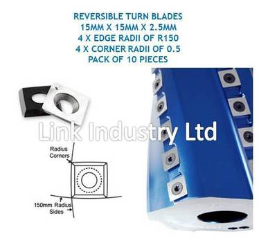 10 pces. 15 x 15 x 2.5mm REVERSIBLE TURN BLADES 4x R150 EDGE RADII & CORNER RADS