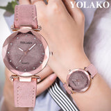 YOLAKO Quartz - Luxury Starry Sky Round Diamond Face Watch With Leather Rhinestone Designer Band
