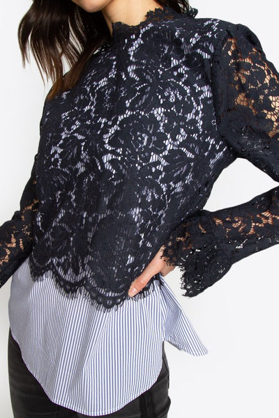 Pinstripe and Lace Top