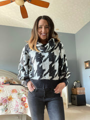 Houndstooth Black and White Elan Sweater