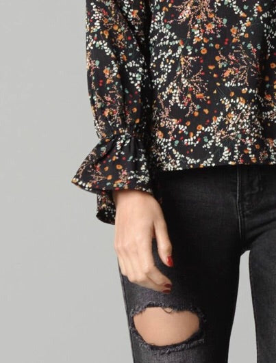 Black Floral Cape Blouse