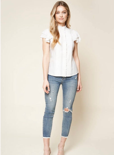 A Plus Ruffled Pintuck Top