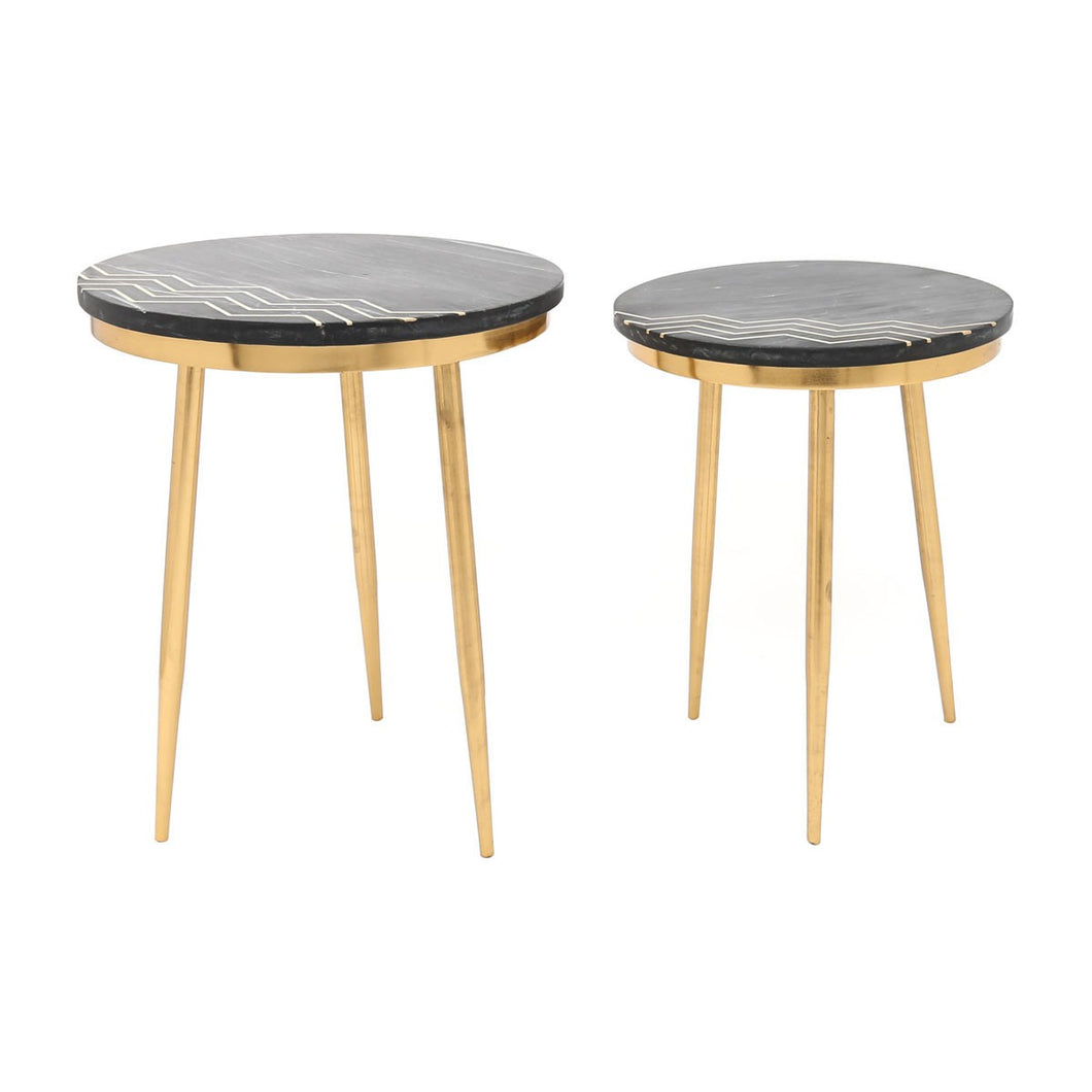 Zuo Rumi Accent Table Set Black Marble & Brass