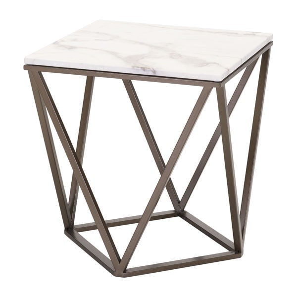 Zuo Tintern End Table Stone & A. Brass