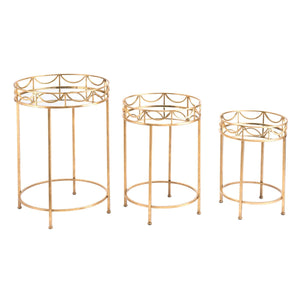 Zuo Set of 3 Side Tables Gold