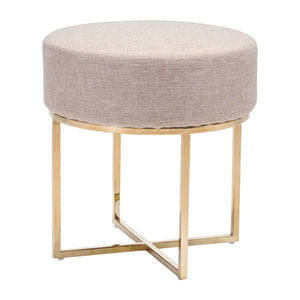 Zuo Bon Stool Beige & Stainless
