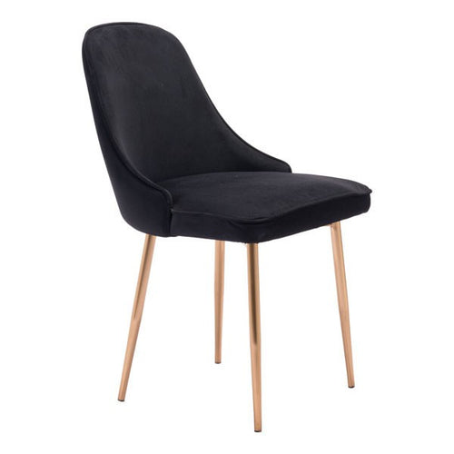 Zuo Merritt Dining Chair Black Velvet