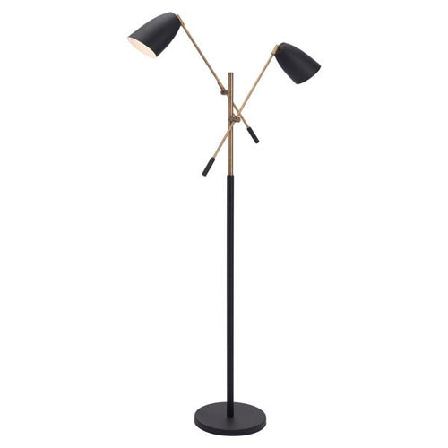 Zuo Tanner Floor Lamp Matt Black & Brass