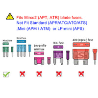 Mupera 105 PCS Micro2 ATR Car Blade Fuses - Micro 2 Automotive Fuses Assorted (5, 7.5, 10, 15, 20, 25 & 30 AMP) with Puller Tool, Car Boat Truck SUV RV Micro II Fuses Replacement