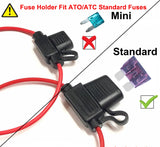 Mupera 10 Pack 10 Gauge Inline Fuse Holders & Fuses Kit - Waterproof Standard APR ATO ATC Fuse Holder with 40AMP & 15AMP Standard Fuse (10 Pack)