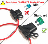 Mupera Fuse Holders & ATC/ATO Fuses Kit – Wiring Harness Inline Standard 10 Gauge Fuse Holder with Standard 30A & 15A Fuse (10 Pack)