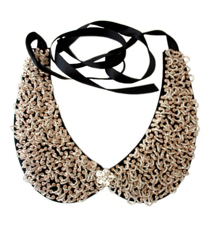 Beaded Collar White