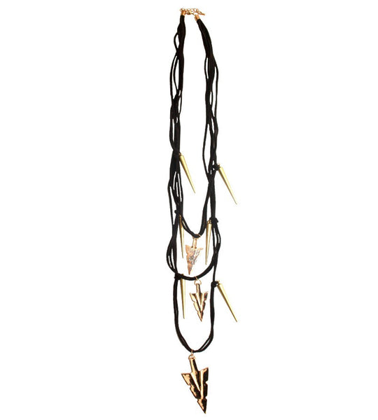 Gold and Black Spear Necklace