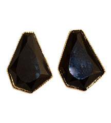 Drop Shimmer Black and Gold Earrings