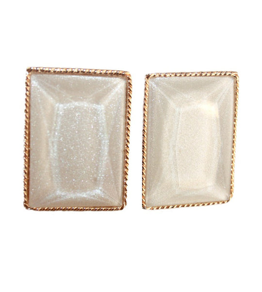 Square Shimmer Cream and Gold Earings