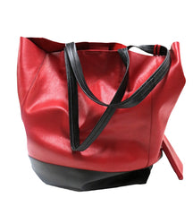 Ladies Leather Shopper Bag Red/Black