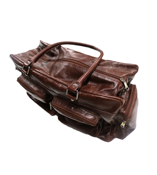 Mens Brown Leather Overnight Bag