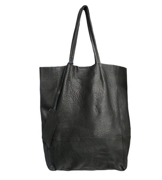 Ladies Leather Shopper Bag Black