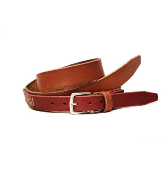 Two Tone Belt - Tan Brown & Red