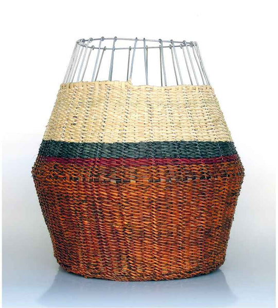 Woven Basket - Brown With Colour