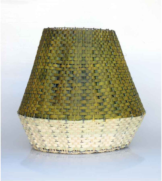 Woven Basket - Green & Cream