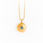 Gold Double Gem Dome Necklace