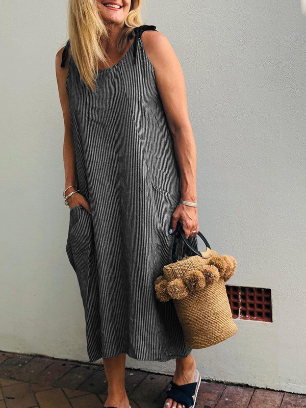 U-neck Sleeveless Solid  Loose Casual  Midi  Dress