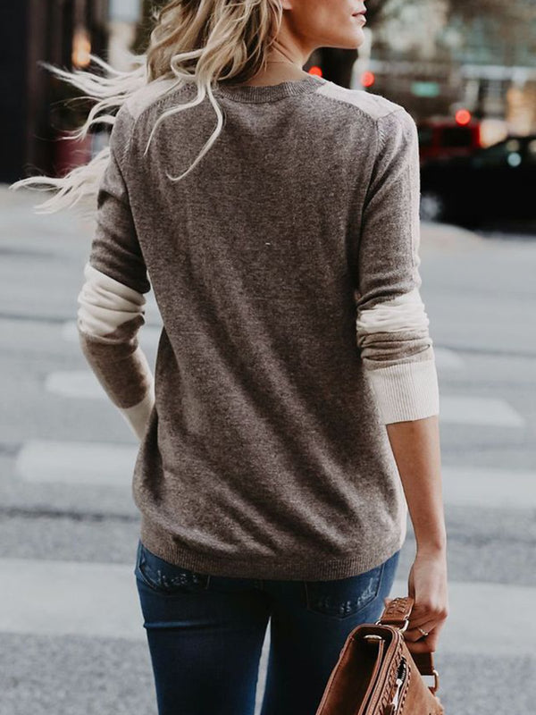 Gray Paneled Geometric Crew Neck Winter Sweater