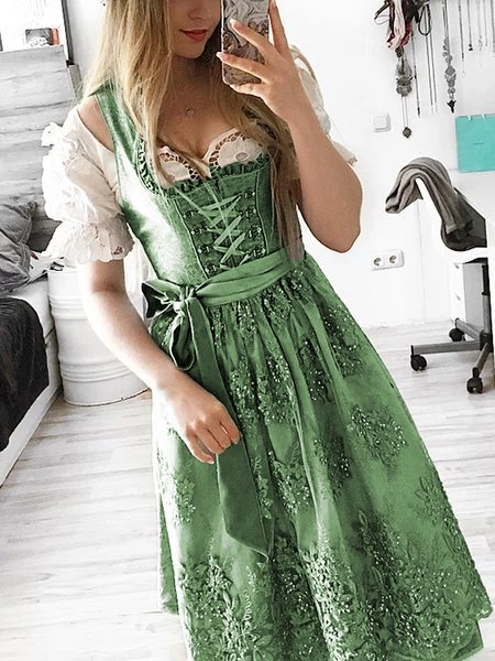 Oktoberfest dirndl plus size Sweet Cotton Dresses