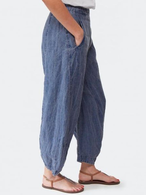 Denim Blue Solid Loose  Daytime Casual Pants