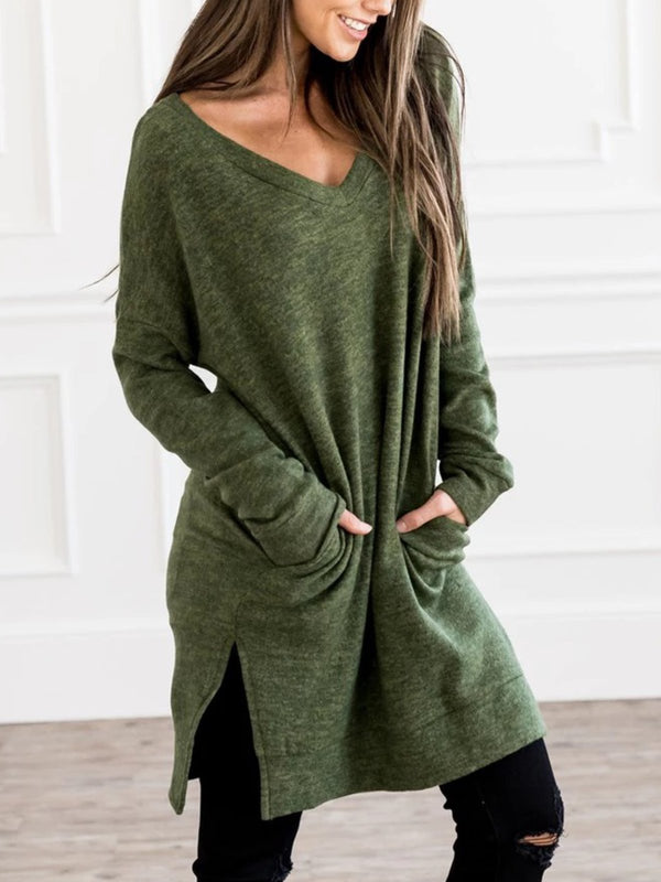 Ultra-Soft Casual Plus Size Tunic Sweatshirt Pullover