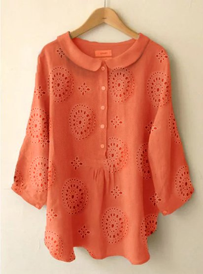 Plus Size Long Sleeve Sweet Solid Blouse
