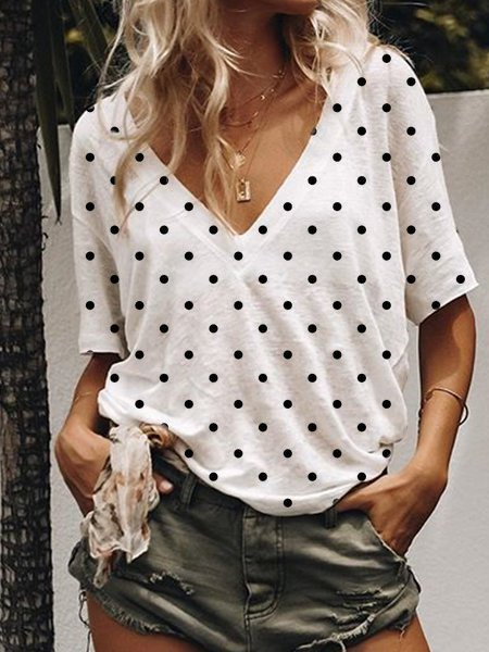Short Sleeve V Neck Polka Dots Shirts & Tops