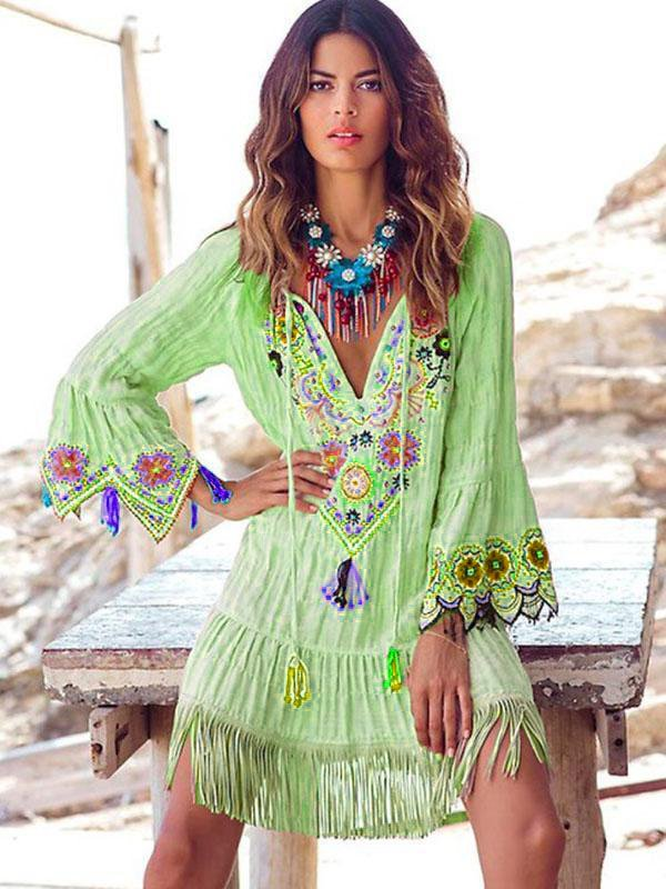 V Neck Flora Shift Cotton-Blend Bohemian Dress