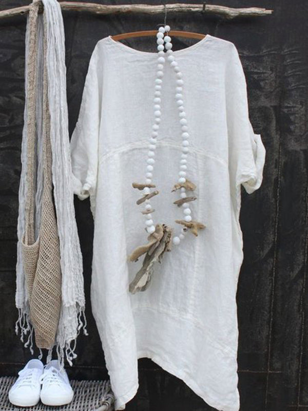Crew Neck Short Sleeve Cotton Dresses