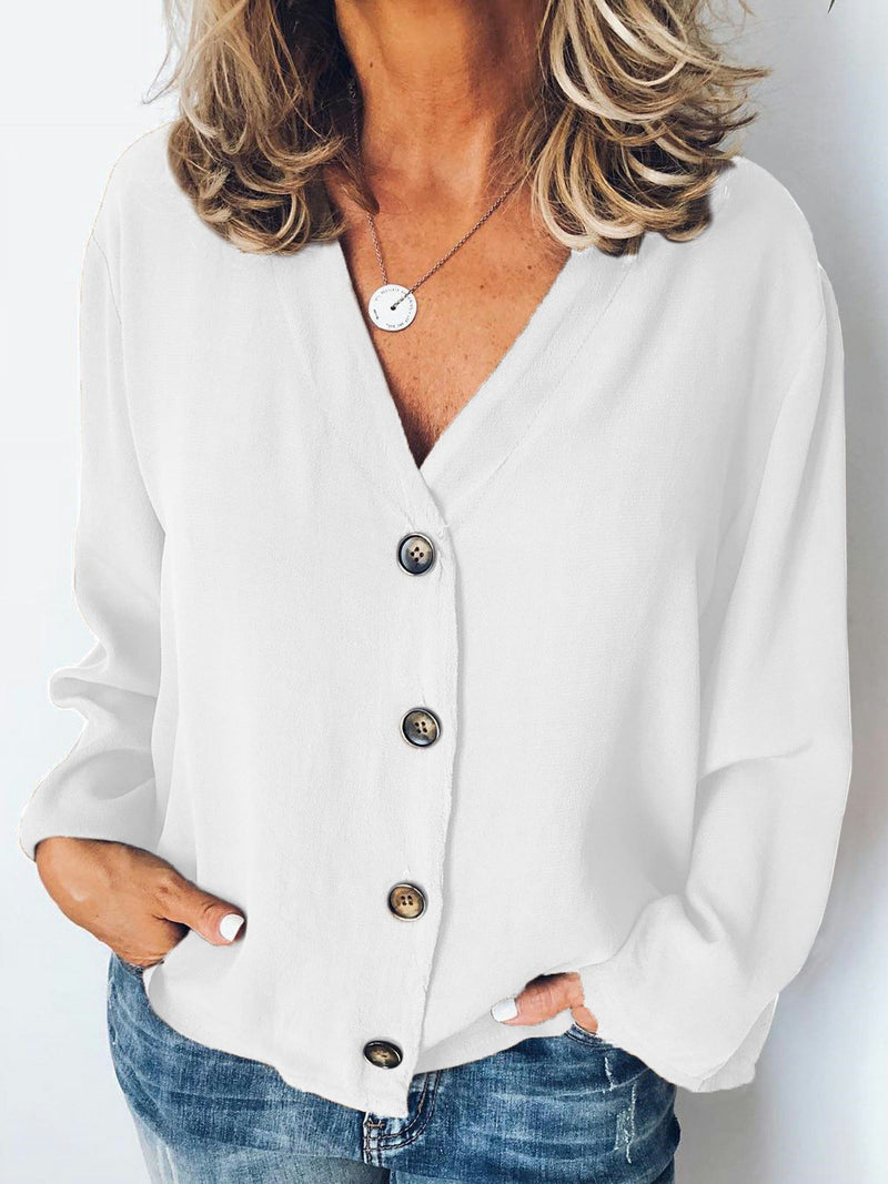 Slightly stretchy  Long Sleeve Casual Buttoned Shirts & Tops
