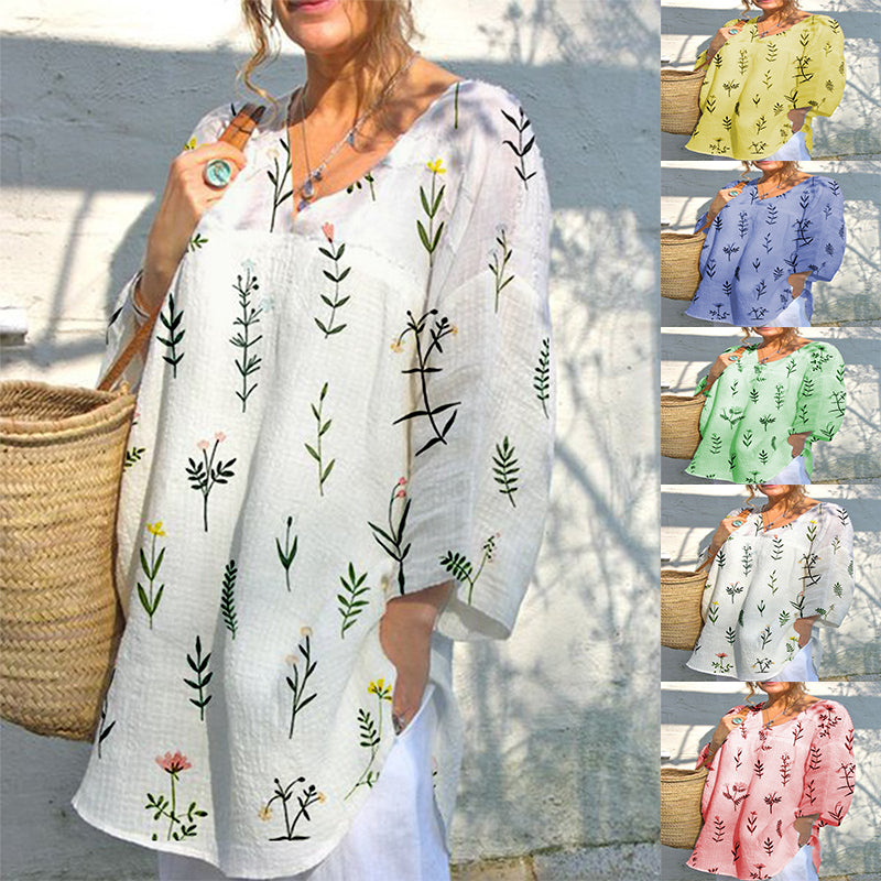 Printed V-neck Summer Loose-fitting Multicolor T-shirt