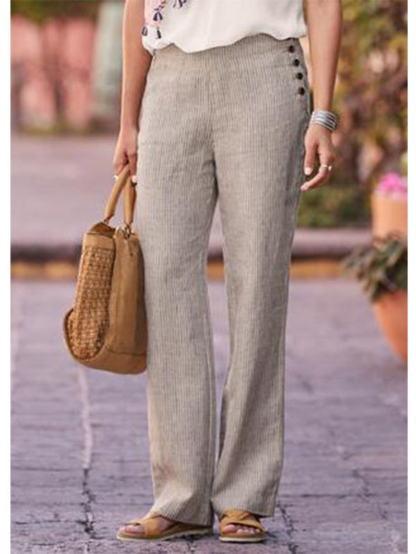 Stripe-Grey Striped Cotton Casual Pants