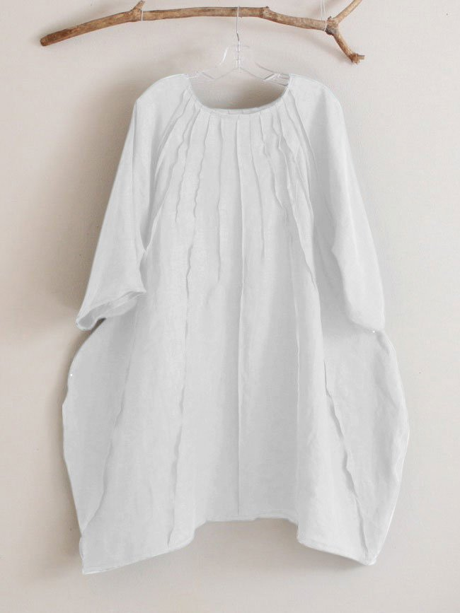 Linen Half Sleeve Folds Casual Dresses