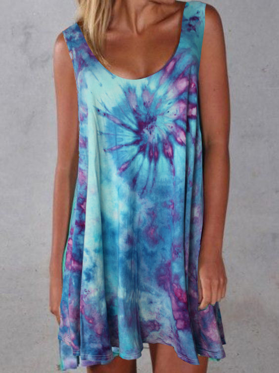 Tie Dye  Sleeveless Round Neck Dresses
